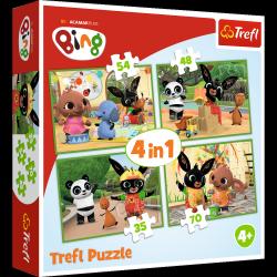 Puzzle Bing 4w1 Wesoły dzień Binga Trefl 34335