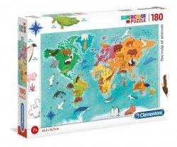 Puzzle Mapa Zwierząt 180 el. Clementoni 29753