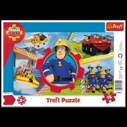 Puzzle Ramkowe Dzień Strażaka Sama 15 el. Trefl 31351
