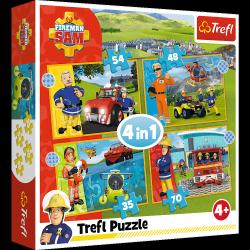 Puzzle 4w1 Odważny Strażak Sam 35/48/54/70 el. Strażak Sam Trefl 34387