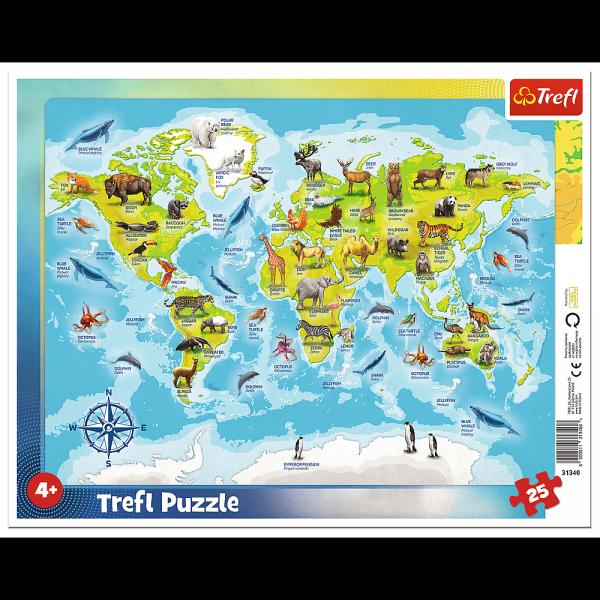 Puzzle Ramkowe Mapa Świata ze Zwierzętami 25 el. Trefl 31340