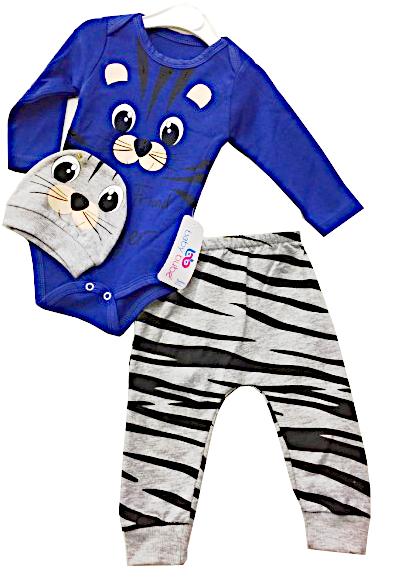 Komplet Dziecięcy 3 częściowy Tygrysek Granatowy Body Spodnie Czapeczka