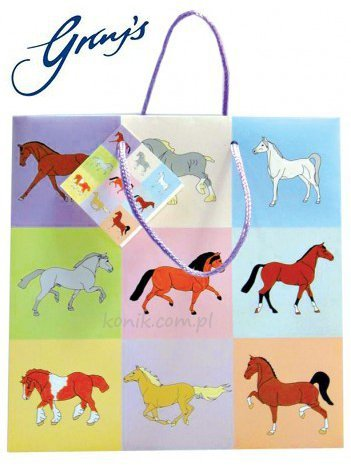 Torebka na prezenty PASTEL HORSE duża - GRAY'S