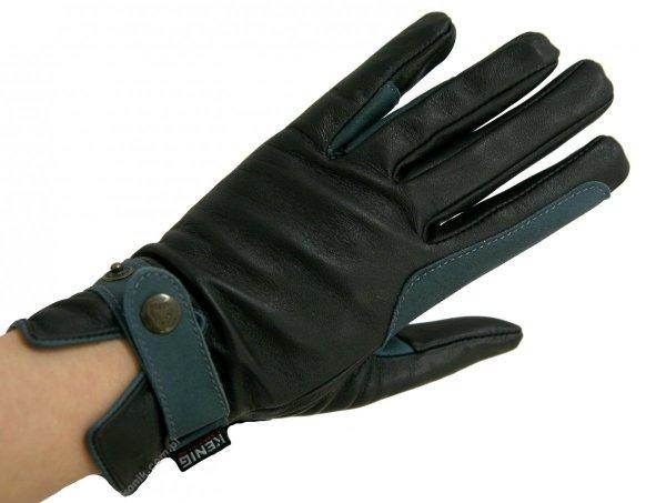 Skórzane rękawiczki z wykończeniem w kolorze petrol - KENIG
