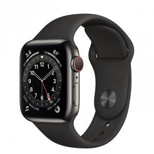 Apple Watch Series 6 40mm GPS + LTE (cellular) Stal nierdzewna w kolorze grafitowym z paskiem sportowym w kolorze czarnym