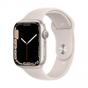 Apple Watch Series 7 45mm GPS Koperta z aluminium w kolorze księżycowej poświaty z paskiem sportowym w kolorze księżycowej poświaty