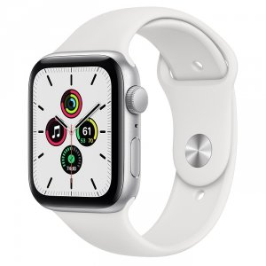 Apple Watch SE 44mm GPS Aluminium w kolorze srebrnym z paskiem sportowym w kolorze białym - nowy model