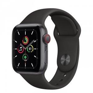 Apple Watch SE 40mm GPS + LTE (cellular) Aluminium w kolorze gwiezdnej szarości z paskiem sportowym w kolorze czarnym - nowy model