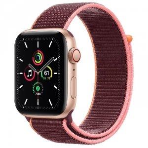 Apple Watch SE 44mm GPS + LTE (cellular) Aluminium w kolorze złotym z opaską sportową w kolorze śliwkowym - nowy model