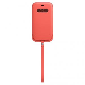Apple Skórzany futerał z MagSafe do iPhone'a 12 / 12 Pro - różowy cytrus