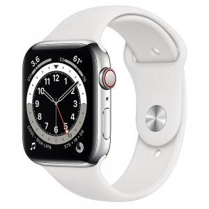 Apple Watch Series 6 44mm GPS + LTE (cellular) Stal nierdzewna w kolorze srebrnym z paskiem sportowym w kolorze białym