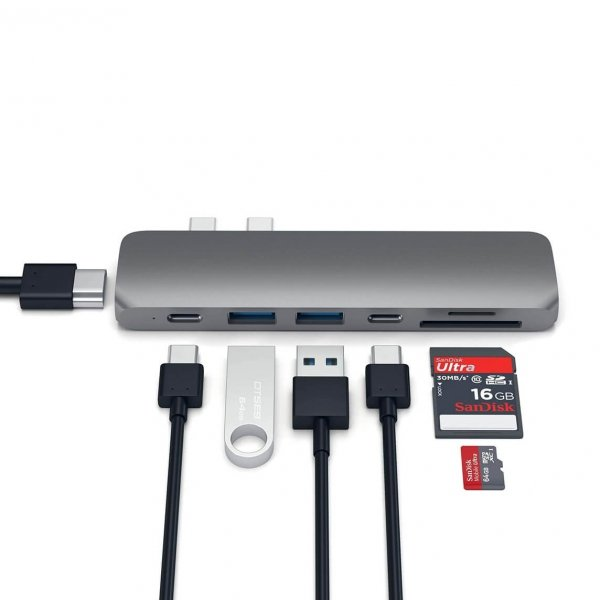 Satechi USB-C PRO HUB - Thunedrbolt 3 / HDMI / USB 3.0 / USB-C / SD / microSD / Space Gray (gwiezdna szarość)