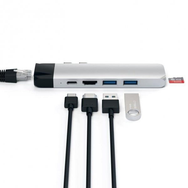 Satechi PRO USB-C Aluminium Hub - Ethernet/HDMI/USB 3.0/USB-C PowerDelivery/microSD Silver