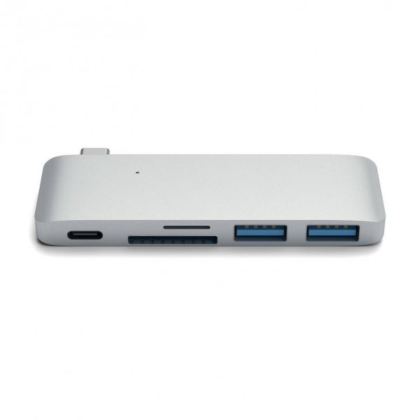 Satechi Pass Through USB-C HUB - USB 3.0 / USB-C (PD) / SD / microSD Silver