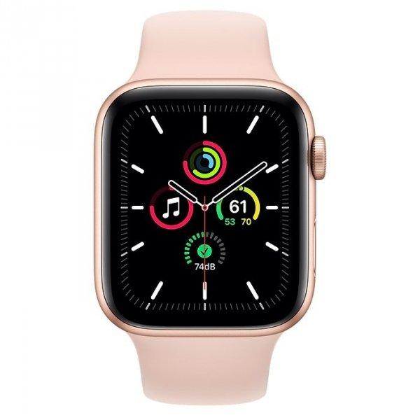 Apple Watch SE 44mm GPS Aluminium w kolorze złotym z paskiem sportowym w kolorze piaskowego różu - nowy model