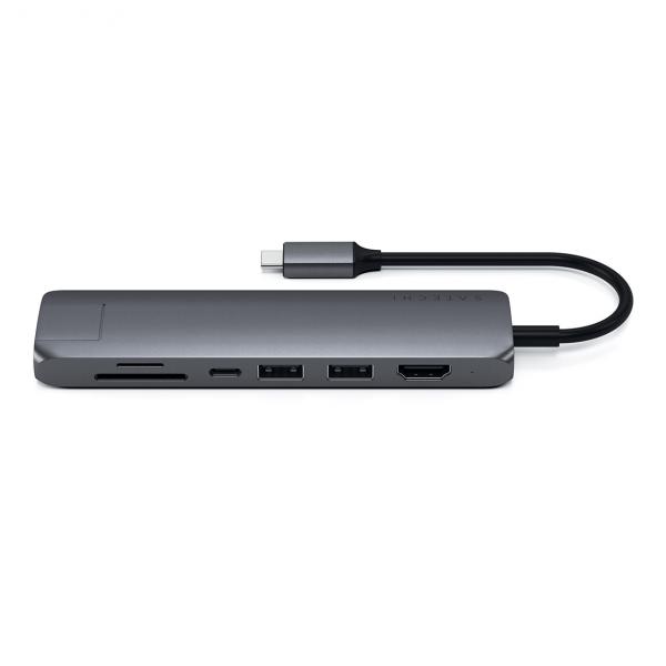 Satechi USB-C Slim Multiport Ethernet HUB - HDMI 4K / USB 3.0 / USB-C(PD) / microSD / SD / Ethernet / Space Gray (gwiezdna szarość)