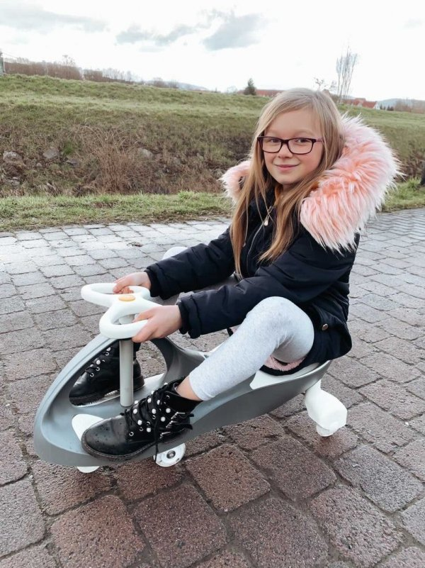 Pojazd dziecięcy TwistCar + Świecące kółka - kolor szary