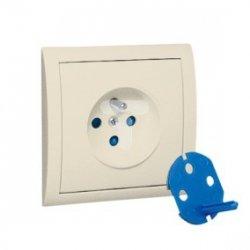 Simon Classic Gniazdo pojedyncze DATA z/u i kluczem uprawniającym beż MGD1/12 WMCW-11111x-9011