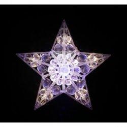 Gwiazda LED ażurowa ozdoba okienna na baterie przeźroczysty przewód 16L ciepły biały 10-312