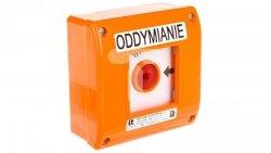 Przycisk oddymianie natynkowy 0Z 2R pomarańczowy z młotkiem OD1-W01-A-02-230VAC-M