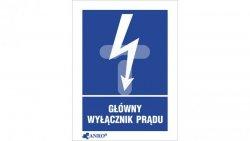 Tabliczka ostrzegawcza /GŁÓWNY WYŁĄCZNIK PRĄDU 52X74/ 20EIA/Q1/F