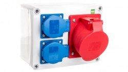 Rozdzielnica budowlana RS 2x2P+Z 3P+N+Z/32A n/t bez zabezpieczeń IP44 szara 6203-01