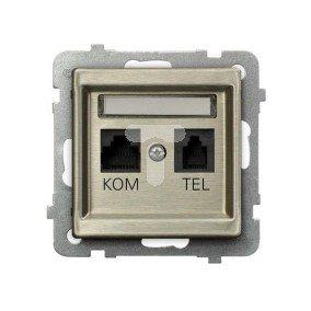 SONATA Gniazdo teleinformatyczne RJ45 + RJ11 nowe srebro GPKT-RM/K/m/44