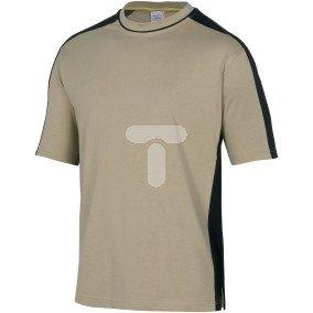 T-shirt dwukolorowy z krótkimi rękawami z bawełny (100%) 180 g/m2 kolor beżowo-czarny rozmiar  L CORP MSTM5BEGT