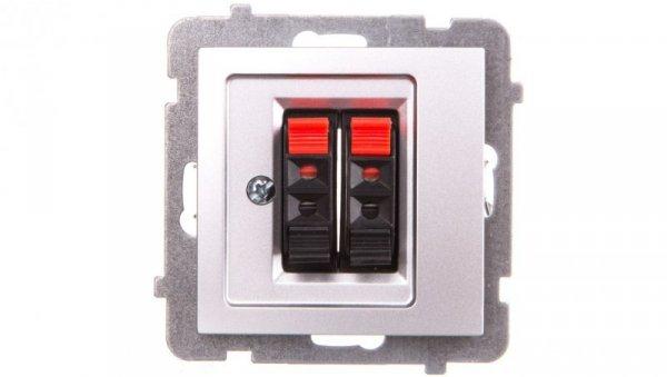AS Gniazdo głośnikowe podwójne srebro GG-2G/m/18