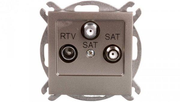 AS Gniazdo antenowe RTV-SAT-SAT satyna light GPA-G2S/m/45