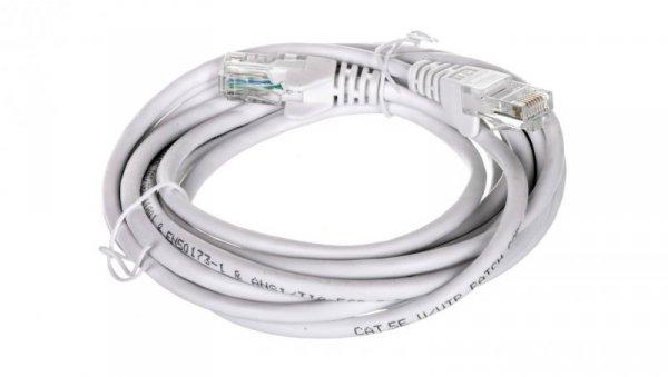 Kabel krosowy patchcord U/UTP kat.5e CCA biały 3m 68506
