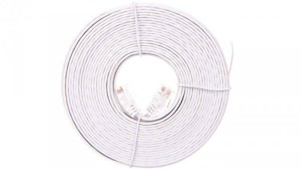Kabel krosowy płaski patchcord U/UTP kat.5e biały 10m 93363