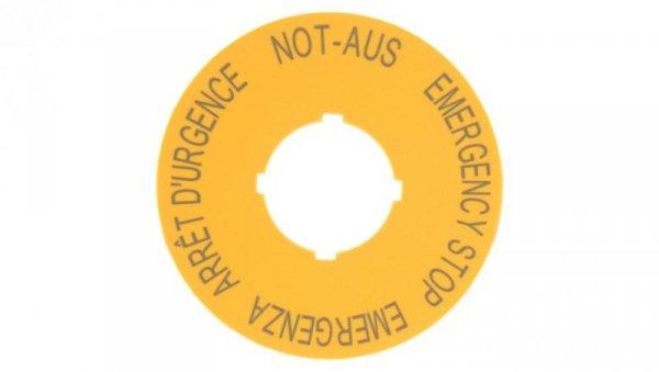 Tabliczka opisowa żółta okrągła fi60 EMERGENCY STOP M22-XBK1 216483