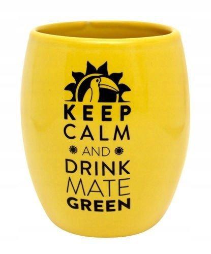 Matero Ceramiczne Żółte OVAL logo yerba mate