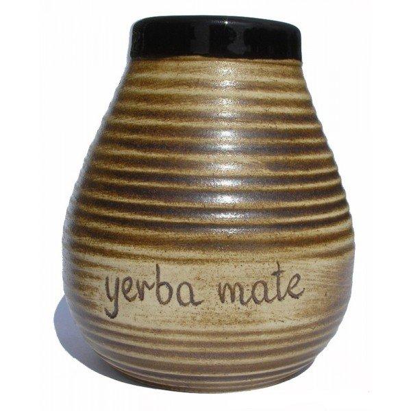 Matero Ceramiczne Brąz Miodowe - Napis Yerba Mate