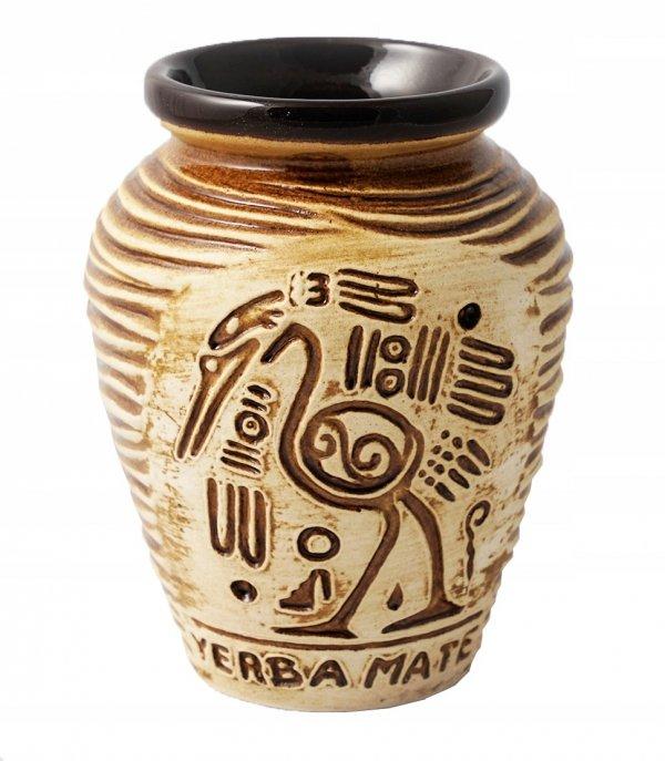 Matero Ceramiczne AZTEK Brąz Miodowe do Yerba Mate