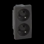 Gniazdo podwójne SIMON 500 z bolcem uziemiającym 16A 250V szybkozłącza/nożowe 100×50mm szary grafit