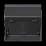 Plakietka teleinformatyczna SIMON 500 do adapterów MD podwójna skośna z osłonami 50×50mm szary grafit