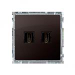 Gniazdo HDMI podwójne czekoladowy mat, metalizowany