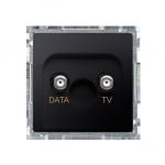 Gniazdo antenowe TV-DATA tłum.:5dB grafit mat, metalizowany