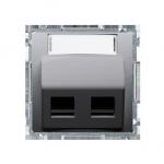 Pokrywa gniazd teleinformatycznych na PANDUIT, skośna podwójna z polem opisowym inox, metalizowany