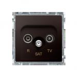 Gniazdo antenowe R-TV-SAT końcowe/zakończeniowe tłum.:1dB czekoladowy mat, metalizowany