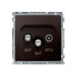 Gniazdo antenowe SAT-SAT-RTV satelitarne podwójne tłum.:1dB czekoladowy mat, metalizowany