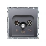 Gniazdo antenowe R-TV-SAT końcowe/zakończeniowe tłum.:1dB inox, metalizowany