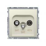 Gniazdo antenowe SAT-SAT-RTV satelitarne podwójne tłum.:1dB beżowy