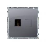 Gniazdo HDMI pojedyncze inox, metalizowany
