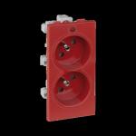 Gniazdo podwójne CIMA z bolcem uziemiającym z sygnalizacją napięcia 16A 250V zaciski śrubowe 108×52mm czerwony