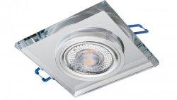 Oprawa szklana GLASSO-K-S kwadrat srebrna 90x8 halogenowa wpuszczana  LUX06744