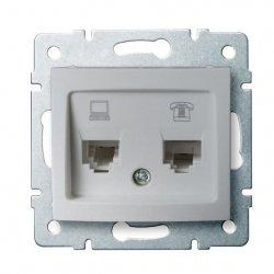 Gniazdo komputerowo-telefoniczne, (RJ45 Cat 6+RJ11) DOMO 01-1440-043 sr 24876