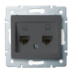 Gniazdo komputerowe podwójne niezależne, (2x RJ45Cat 5e Jack) DOMO 01-1410-041 gr 24932